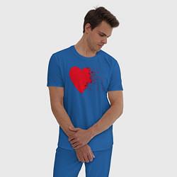 Пижама хлопковая мужская Сердце цвета синий — фото 2