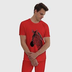 Пижама хлопковая мужская Зебра цвета красный — фото 2