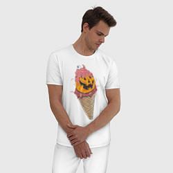 Пижама хлопковая мужская Pumpkin IceCream цвета белый — фото 2