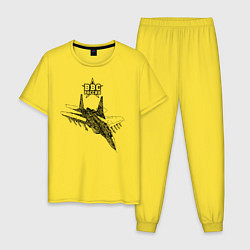 Пижама хлопковая мужская ВВС России цвета желтый — фото 1