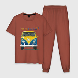 Пижама хлопковая мужская Я люблю вас Yellow-blue bus цвета кирпичный — фото 1