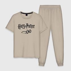 Пижама хлопковая мужская Гарри Поттер цвета миндальный — фото 1