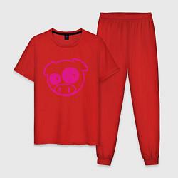 Пижама хлопковая мужская Subaru Power Pig цвета красный — фото 1