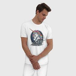Пижама хлопковая мужская Единорог Rock цвета белый — фото 2