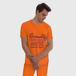 Пижама хлопковая мужская Самый офигенный муж цвета оранжевый — фото 2