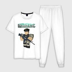 Пижама хлопковая мужская Roblox Defender цвета белый — фото 1