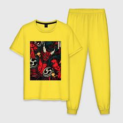 Пижама хлопковая мужская God of thunder цвета желтый — фото 1