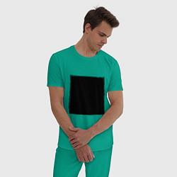 Пижама хлопковая мужская ЧЕРНЫЙ КВАДРАТ цвета зеленый — фото 2