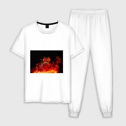 Пижама хлопковая мужская Войска связи цвета белый — фото 1