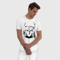 Пижама хлопковая мужская Какаши цвета белый — фото 2