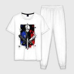 Пижама хлопковая мужская DMC цвета белый — фото 1