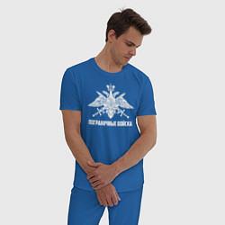 Пижама хлопковая мужская Пограничные Войска цвета синий — фото 2