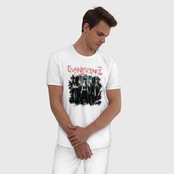Пижама хлопковая мужская Evanescence цвета белый — фото 2