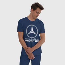Пижама хлопковая мужская MERCEDES-BENZ AMG цвета тёмно-синий — фото 2