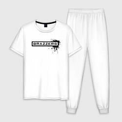 Пижама хлопковая мужская Brazzers цвета белый — фото 1