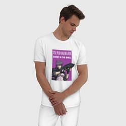Пижама хлопковая мужская Призрак в доспехах цвета белый — фото 2