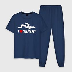 Пижама хлопковая мужская I love sushi цвета тёмно-синий — фото 1