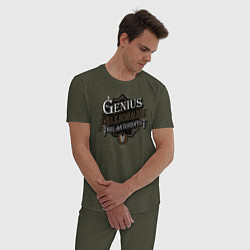 Пижама хлопковая мужская Гений, миллиардер, филантроп цвета меланж-хаки — фото 2