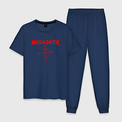 Пижама хлопковая мужская Megadeth цвета тёмно-синий — фото 1