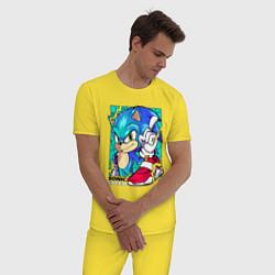 Пижама хлопковая мужская СОНИК цвета желтый — фото 2