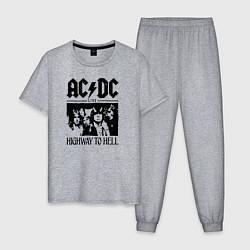 Пижама хлопковая мужская ACDC highway to hell цвета меланж — фото 1