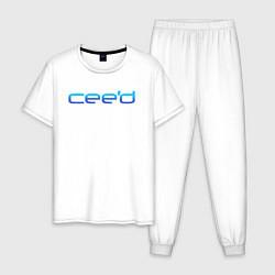 Пижама хлопковая мужская KIA CEED цвета белый — фото 1
