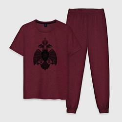 Пижама хлопковая мужская МЧС России двусторонняя цвета меланж-бордовый — фото 1
