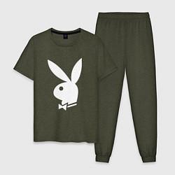Пижама хлопковая мужская PLAYBOY цвета меланж-хаки — фото 1