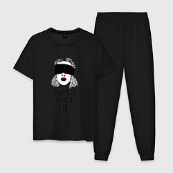 Пижама хлопковая мужская Очень странные дела цвета черный — фото 1