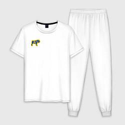 Пижама хлопковая мужская GO BULLDOGS цвета белый — фото 1