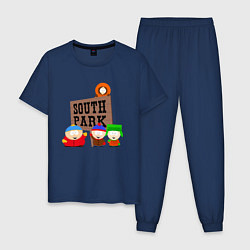Пижама хлопковая мужская ЮЖНЫЙ ПАРК цвета тёмно-синий — фото 1