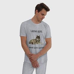 Пижама хлопковая мужская Волк цвета меланж — фото 2