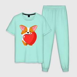 Пижама хлопковая мужская Милый корги цвета мятный — фото 1