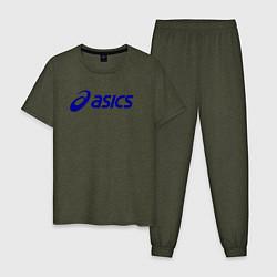 Пижама хлопковая мужская Asics Sport цвета меланж-хаки — фото 1