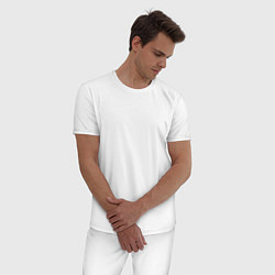 Пижама хлопковая мужская HALF-LIFE цвета белый — фото 2