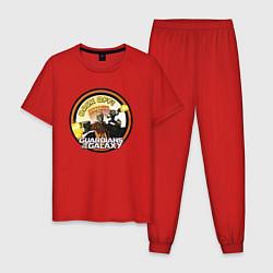 Пижама хлопковая мужская Back off! цвета красный — фото 1