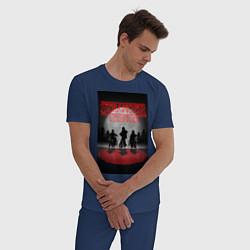 Пижама хлопковая мужская Очень странные дела цвета тёмно-синий — фото 2