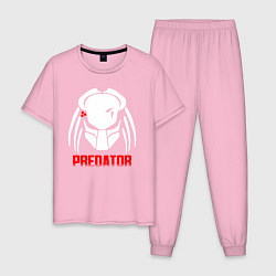 Пижама хлопковая мужская PREDATOR цвета светло-розовый — фото 1