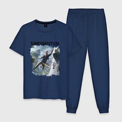 Пижама хлопковая мужская UNCHARTED цвета тёмно-синий — фото 1