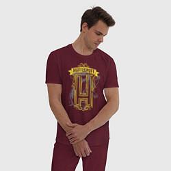 Пижама хлопковая мужская Гарри Поттер цвета меланж-бордовый — фото 2