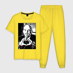 Пижама хлопковая мужская Ленин Oko цвета желтый — фото 1