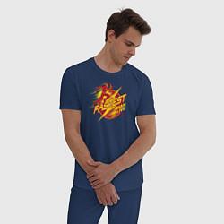 Пижама хлопковая мужская The Fastest Man Alive цвета тёмно-синий — фото 2