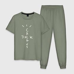 Пижама хлопковая мужская CACTUS JACK цвета авокадо — фото 1
