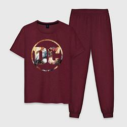 Пижама хлопковая мужская Cyborg цвета меланж-бордовый — фото 1