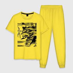 Пижама хлопковая мужская Ева Евангелион цвета желтый — фото 1
