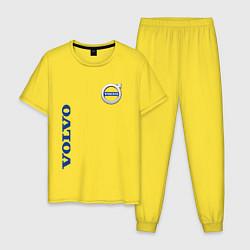 Пижама хлопковая мужская VOLVO цвета желтый — фото 1