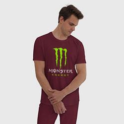 Пижама хлопковая мужская MONSTER ENERGY цвета меланж-бордовый — фото 2