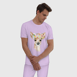 Пижама хлопковая мужская Весенний олень цвета лаванда — фото 2