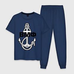 Пижама хлопковая мужская ВМФ якорь цвета тёмно-синий — фото 1