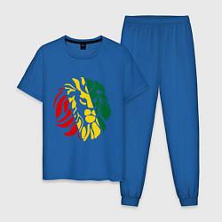 Пижама хлопковая мужская Раста лев цвета синий — фото 1